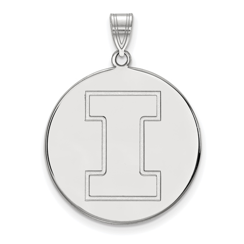 Sterling Silver 1in University of Illinois Round Logo  Pendant