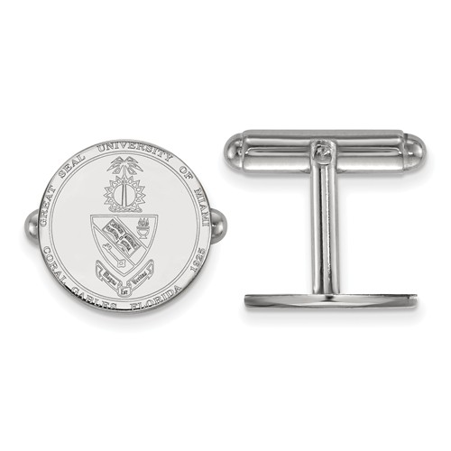 Sterling Silver University of Miami Crest Cuff Links