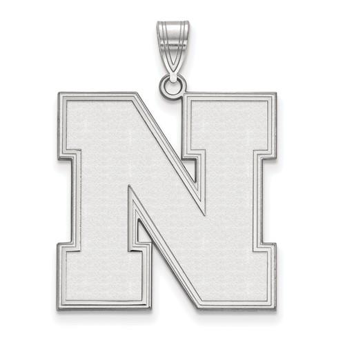 Sterling Silver 1in University of Nebraska Beveled N Pendant
