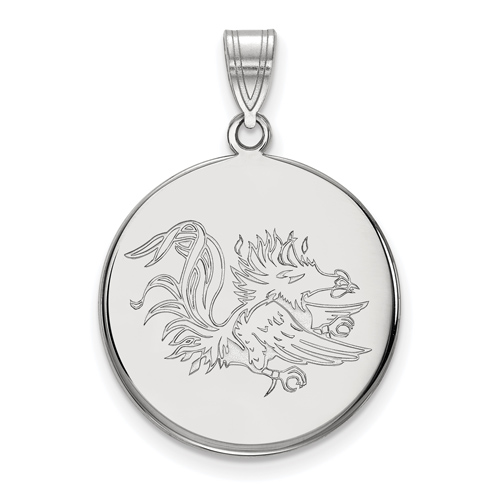 Sterling Silver 7/8in University of South Carolina Gamecock Disc Pendant
