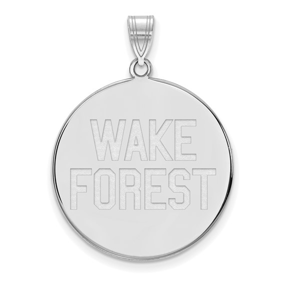 Wake Forest University Disc Pendant 1in Sterling Silver