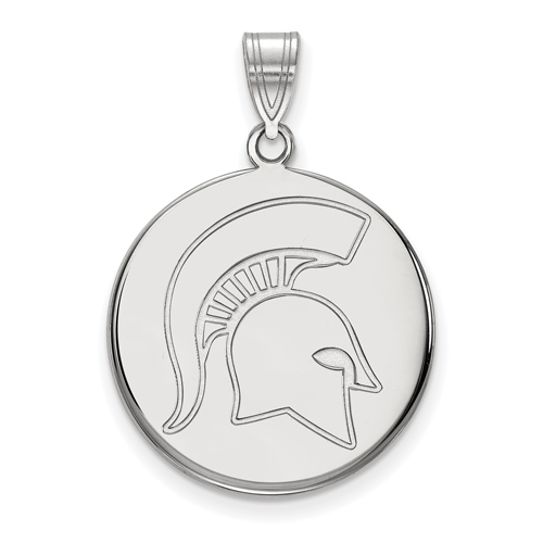 Sterling Silver 3/4in Michigan State Spartan Helmet Round Pendant