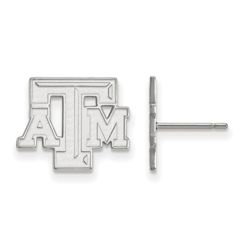 Sterling Silver Texas A&M University Beveled Small Post Earrings