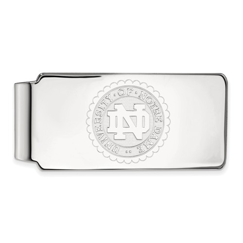 Sterling Silver University of Notre Dame Crest Money Clip