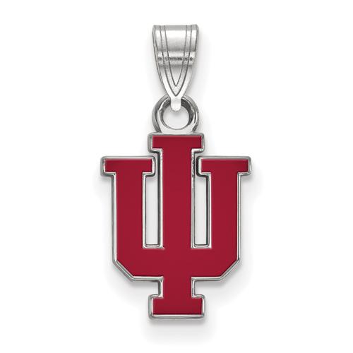 Sterling Silver 1/2in Indiana University Logo Enamel Pendant