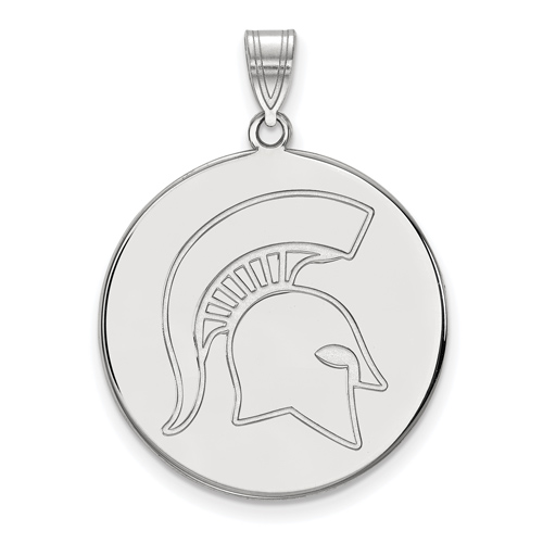 Sterling Silver 1in Michigan State University Spartan Helmet Round Pendant