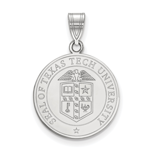 Sterling Silver 3/4in Texas Tech University Crest Disc Pendant
