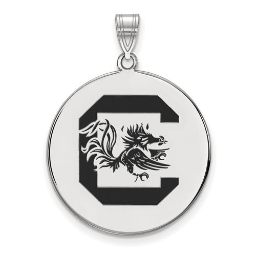 Sterling Silver 1in University of South Carolina Enamel Disc Pendant