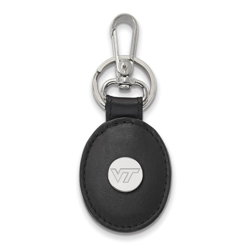 Sterling Silver Virginia Tech Leather Key Chain