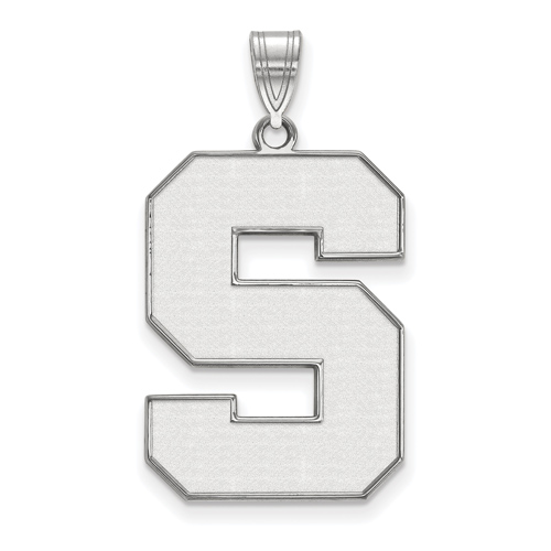 Sterling Silver 1in Michigan State Block S White Enamel Pendant