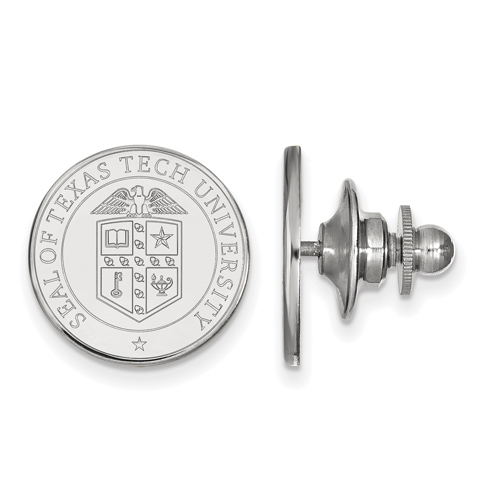 Sterling Silver Texas Tech University Crest Lapel Pin