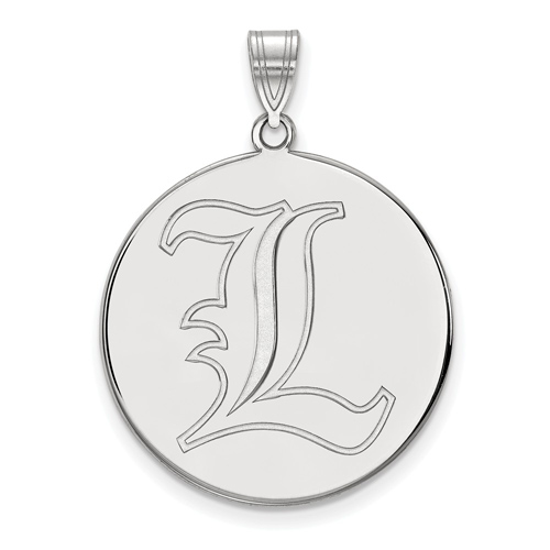 Sterling Silver 1in University of Louisville L Round Pendant