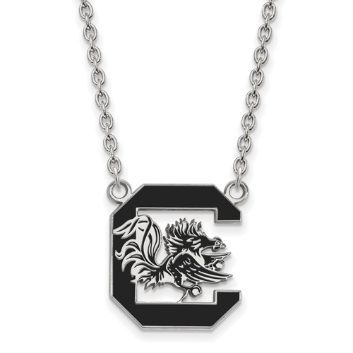 Silver University of South Carolina Enamel Pendant with 18in Chain