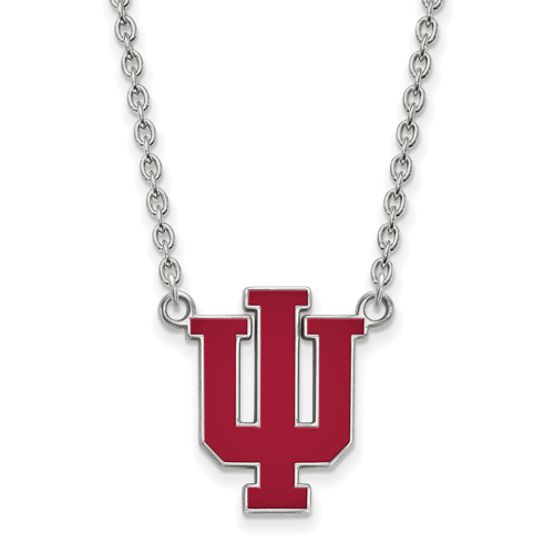 Sterling Silver Indiana University Enamel Pendant with 18in Chain