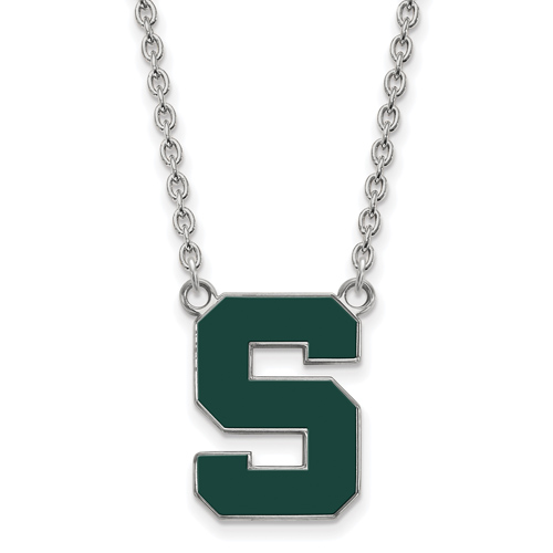 Sterling Silver Michigan State S Enamel Pendant with 18in Chain