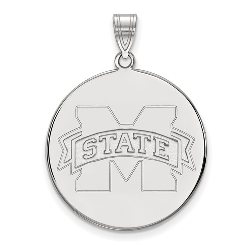 Mississippi State University Disc Pendant 1in Sterling Silver