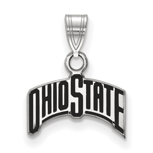 Sterling Silver 3/8in Ohio State University Arched Black Enamel Pendant
