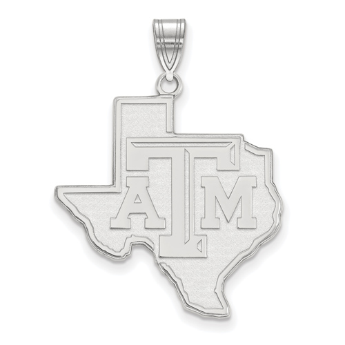 Sterling Silver 1in Texas A&M State Outline Pendant