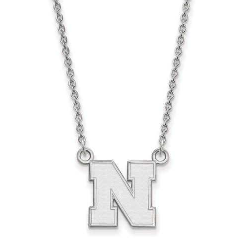 Sterling Silver 1/2in University of Nebraska N Pendant with 18in Chain