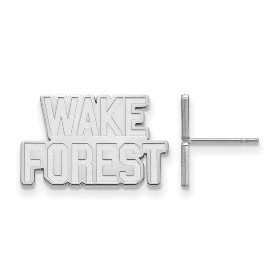 Wake Forest University Logo Post Earrings 10k White Gold