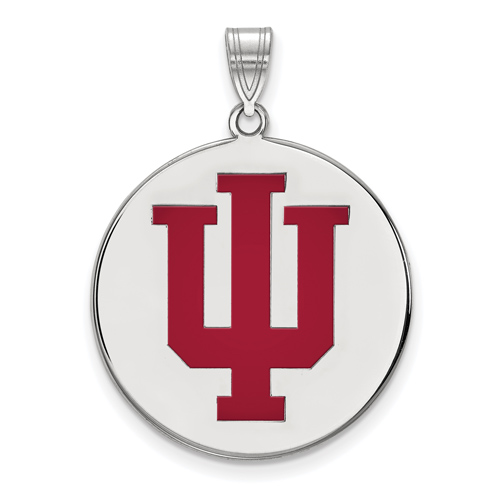 Sterling Silver 3/4in Indiana University Enamel Round Pendant