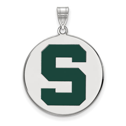 Sterling Silver 1in Michigan State University Block S Enamel Round Pendant