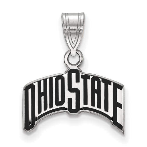 Sterling Silver Ohio State University Arched Black Enamel Pendant