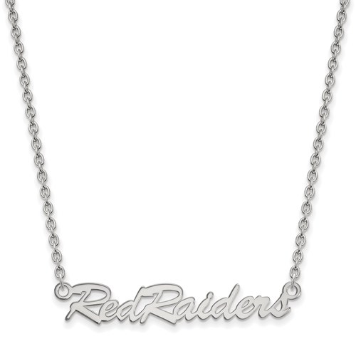 Sterling Silver Red Raiders Pendant with 18in Chain