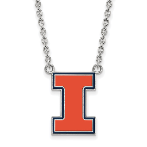 Sterling Silver University of Illinois I Enamel Pendant with 18in Chain