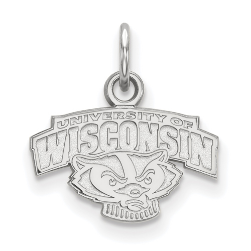 Sterling Silver 3/8in University of Wisconsin Arched Badger Pendant