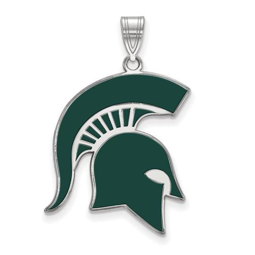 Sterling Silver 1in Michigan State Spartan Helmet Enamel Pendant