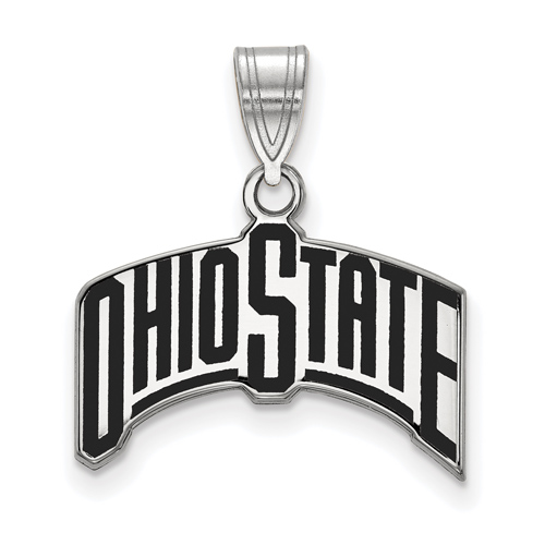 Sterling Silver Ohio State University Arched Enamel Pendant