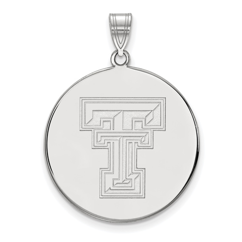 Sterling Silver 1in Texas Tech University Round Pendant