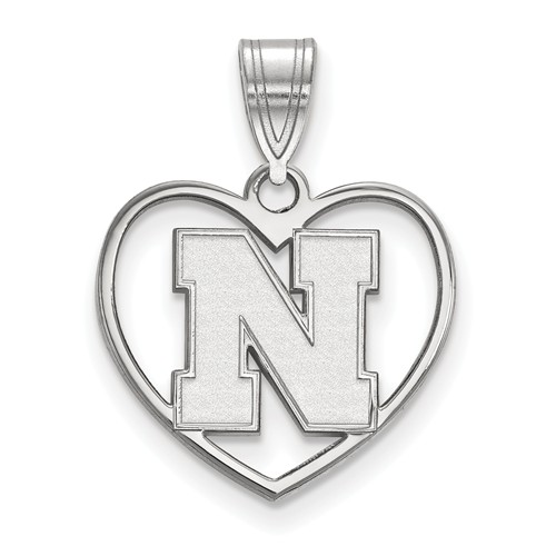 Sterling Silver 5/8in University of Nebraska N Pendant in Heart