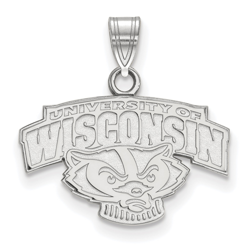 Sterling Silver 1/2in University of Wisconsin Arched Badger Pendant