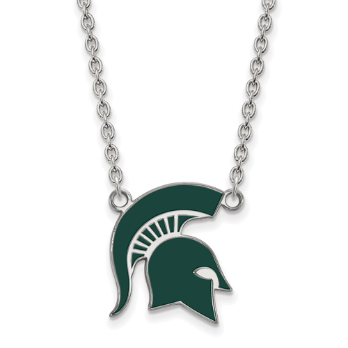 Sterling Silver Michigan State University Spartan Helmet Enamel Pendant with 18in Chain