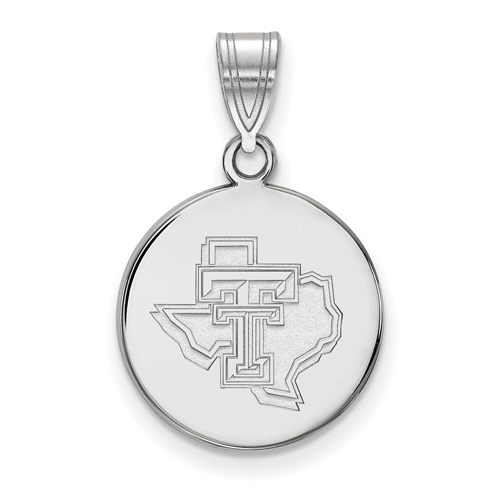 Sterling Silver 5/8in Texas Tech University State Map Disc Pendant
