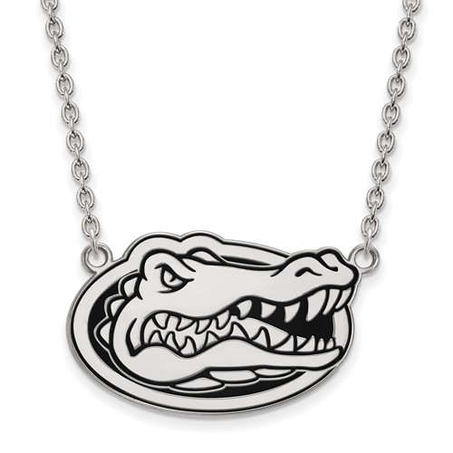 Silver University of Florida Gator Head Enamel Pendant with 18in Chain