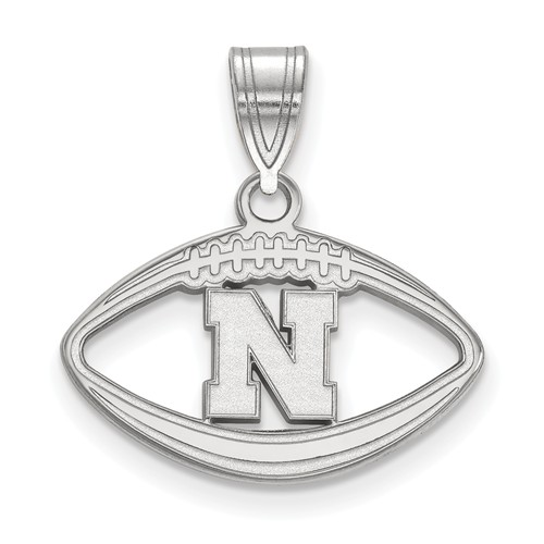 Sterling Silver 3/4in University of Nebraska Football Pendant