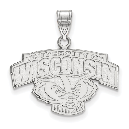 Sterling Silver 5/8in University of Wisconsin Badger Arched Logo Pendant