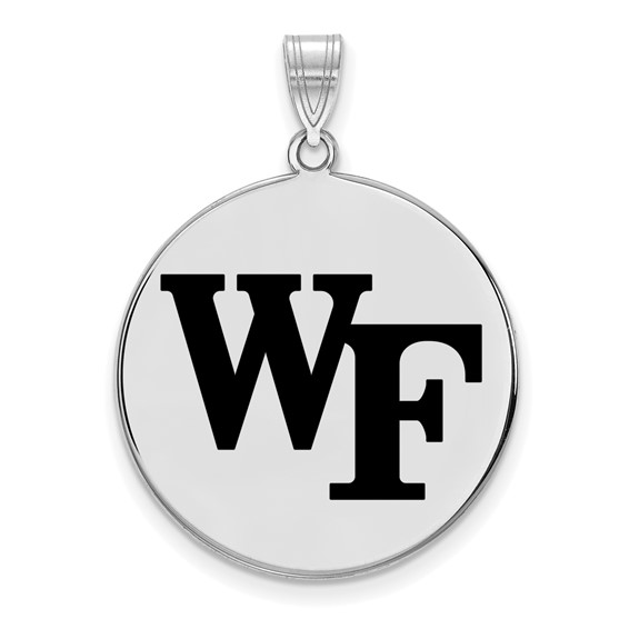 Sterling Silver 1in Wake Forest University WF Enamel Round Pendant
