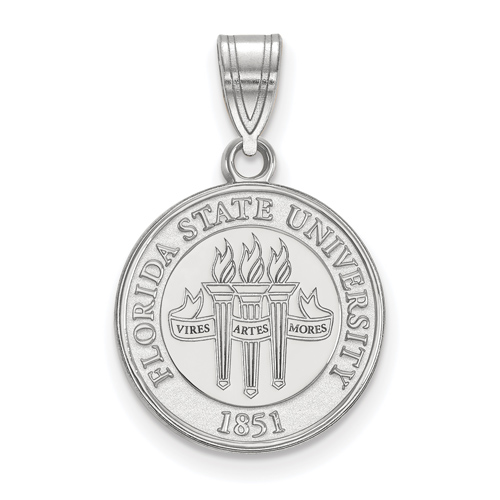 Sterling Silver 5/8in Florida State University Crest Disc Pendant