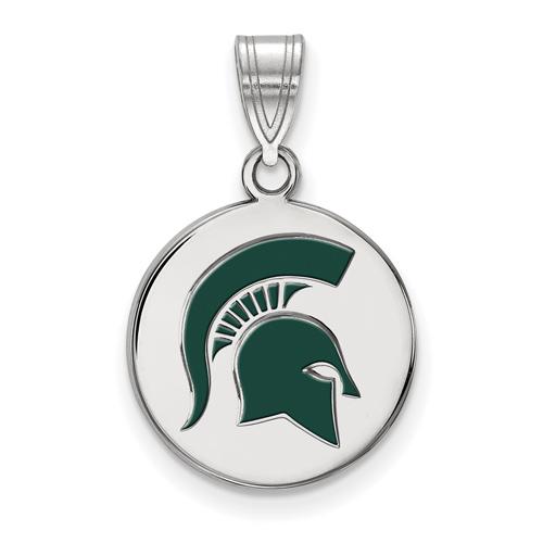 Sterling Silver 5/8in Michigan State University Spartan Helmet Enamel Disc Pendant