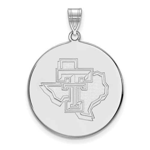 Sterling Silver 1in Texas Tech University State Map Round Pendant