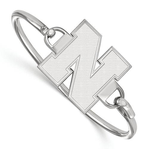 Sterling Silver 7in University of Nebraska N Large Bangle Bracelet