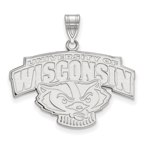 Sterling Silver 3/4in University of Wisconsin Badger Head Pendant