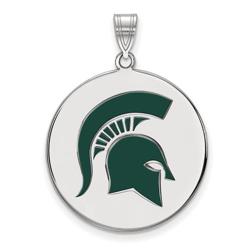Sterling Silver 1in Michigan State Spartan Helmet Enamel Round Pendant