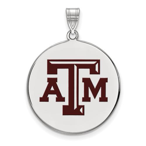 Sterling Silver 1in Texas A&M University Enamel Disc Pendant