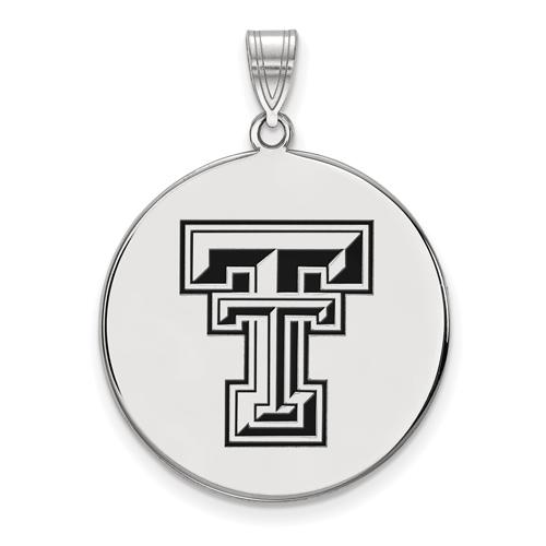 Sterling Silver 1in Texas Tech University Round Enamel Pendant