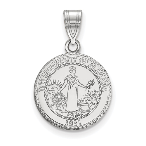 Sterling Silver 5/8in University of Alabama Crest Disc Pendant